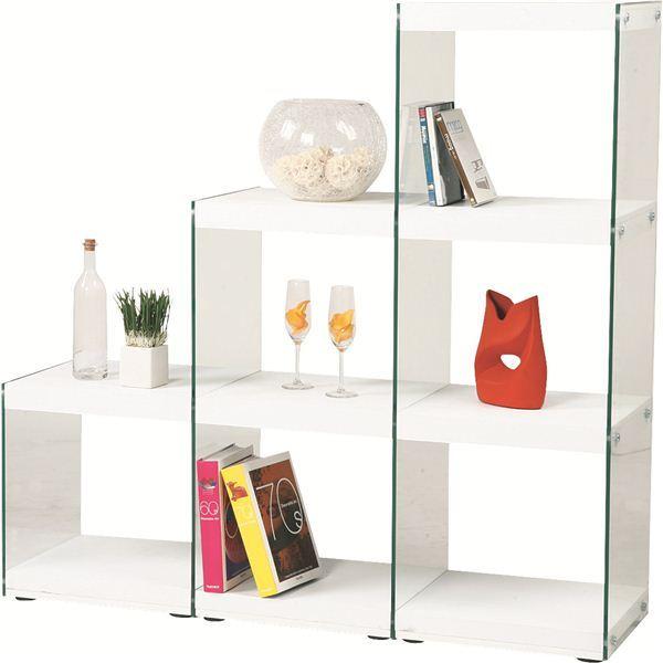 【送料無料】ボックスラック/ステアラック 3段 強化ガラス 幅123cm×高さ121cm HAB-702WH ホワイト (白)