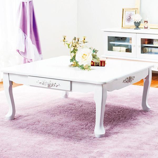 【送料無料】折れ脚猫足テーブル(折りたたみローテーブル) 【3: 正方形】 木製 引き出し付き 姫系 ピュアホワイト