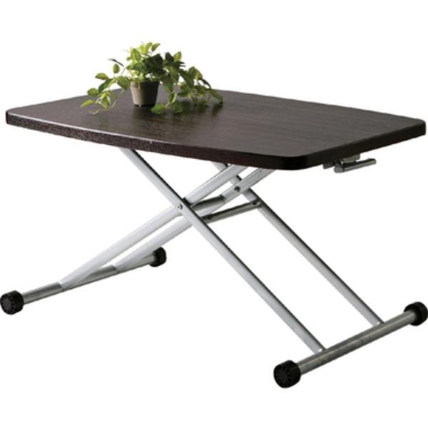 【送料無料】昇降式テーブル/リフティングテーブ 木製/スチール MIP-36BR ブラウン