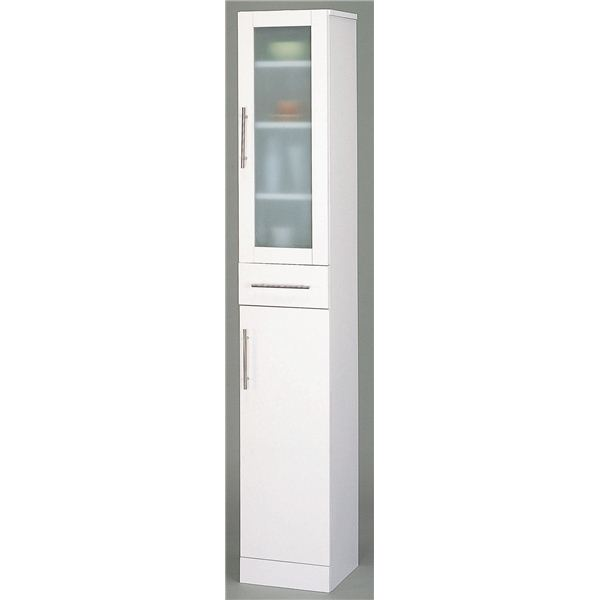 【送料無料】ガラス扉食器棚/キッチン収納 【スリムタイプ 幅30cm】 ミストガラス使用 『カトレア』 大容量 【組立】