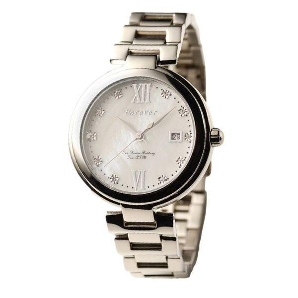 【送料無料】Forever(フォーエバー) 腕時計 デイト付き FG-1201-1 ホワイトシェル×シルバー