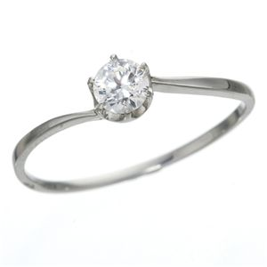【送料無料】大きめだけ プラチナPt900 /0.3ctダイヤリング 指輪 81608/6爪17号