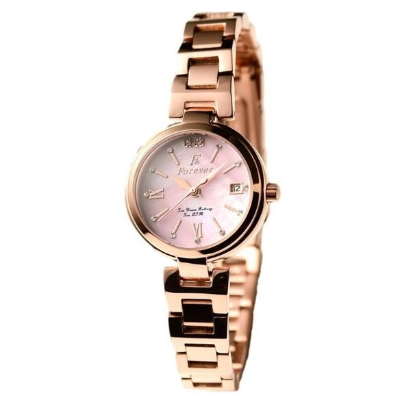 【送料無料】Forever(フォーエバー) 腕時計 デイト付き FL-1201-9 ピンクシェル