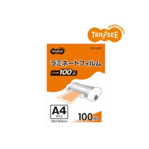 【送料無料】(まとめ)TANOSEE ラミネートフィルムグロスタイプ 100μ A4 216×303mm 100枚入×5パック