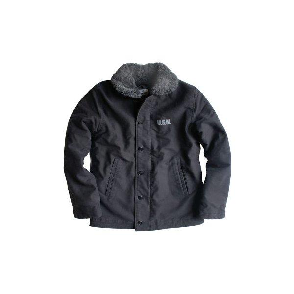 【送料無料】アメリカ軍 N-1 デッキジャケット 【 Lサイズ 】 スリムタイプ ストーンウォッシュ加工 JJ128YN ブラック 【 レプリカ 】