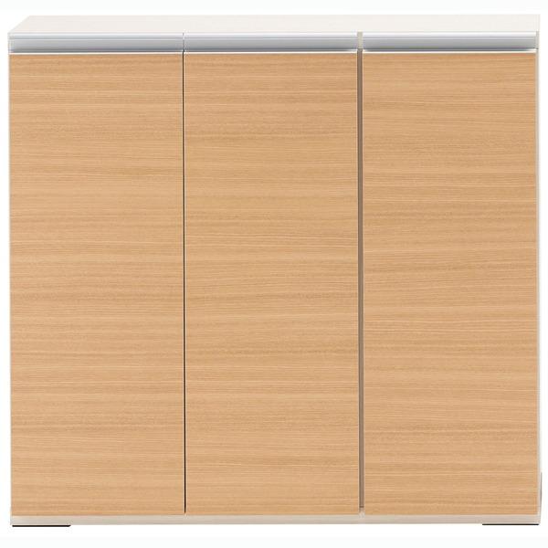 【送料無料】フナモコ 奥行31cm薄型リビング収納 【幅90.5×高さ84cm】 エリーゼアッシュ+ホワイトウッド LBA-90