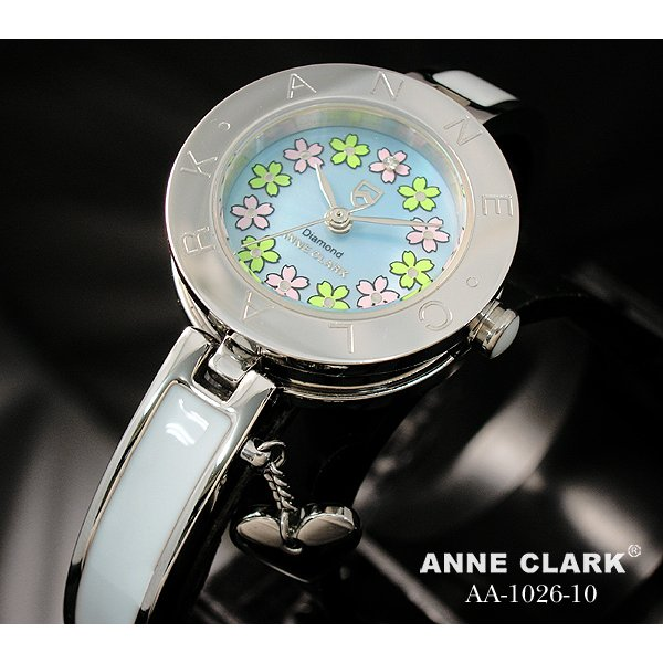 【送料無料】ANNE CLARK(アン・クラーク)レディース腕時計 AA1026-10(文字盤ブルー) 【花柄の文字盤がキュート】