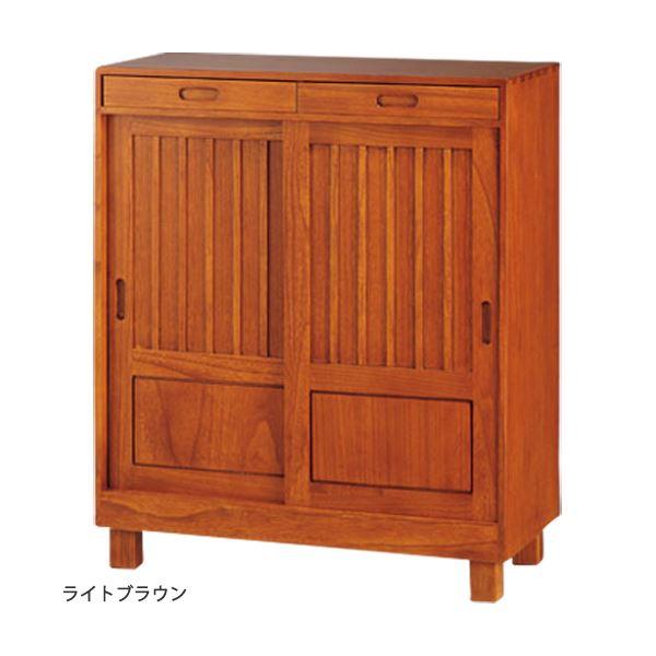 【送料無料】和風引き戸シューズボックス(下駄箱) 【1: 幅80cm】 木製(天然木) ライトブラウン 【完成品】