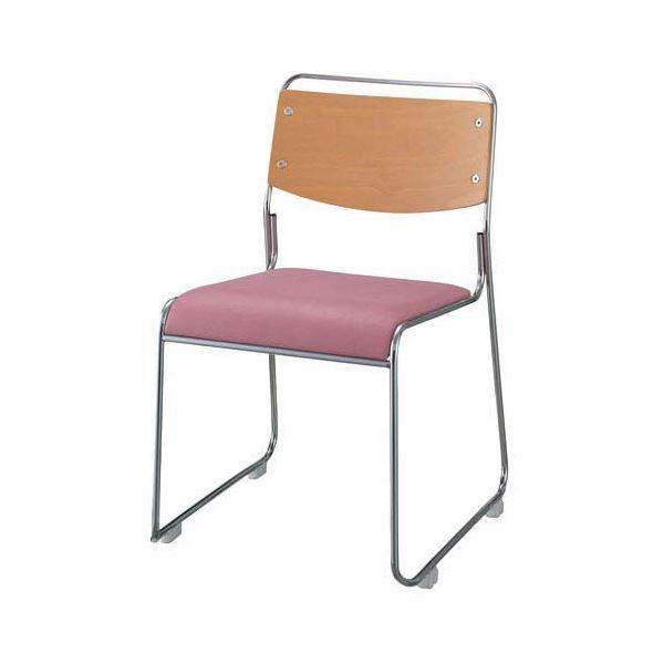 【送料無料】ジョインテックス 会議椅子(スタッキングチェア/ミーティングチェア) 肘なし 座面:合成皮革(合皮) FSN-7L ピンク 【完成品】