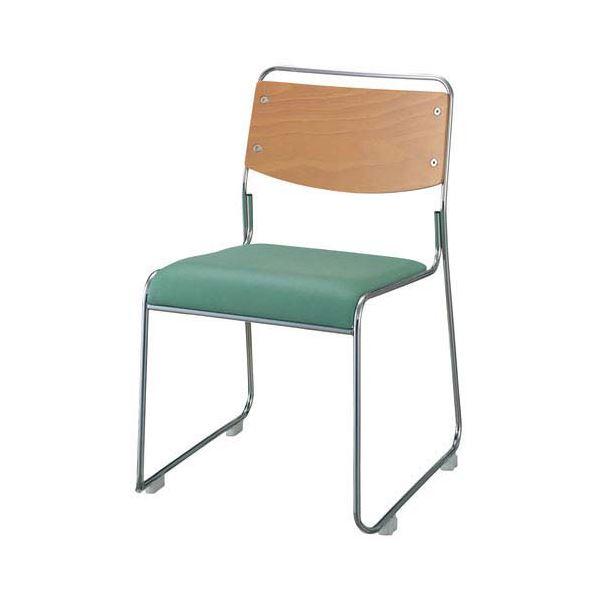 【送料無料】ジョインテックス 会議椅子(スタッキングチェア/ミーティングチェア) 肘なし 座面:合成皮革(合皮) FSN-7L グリーン 【完成品】