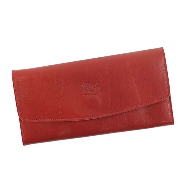 【送料無料】IL BISONTE(イルビゾンテ) フラップ長財布 C0973 245 RUBY RED