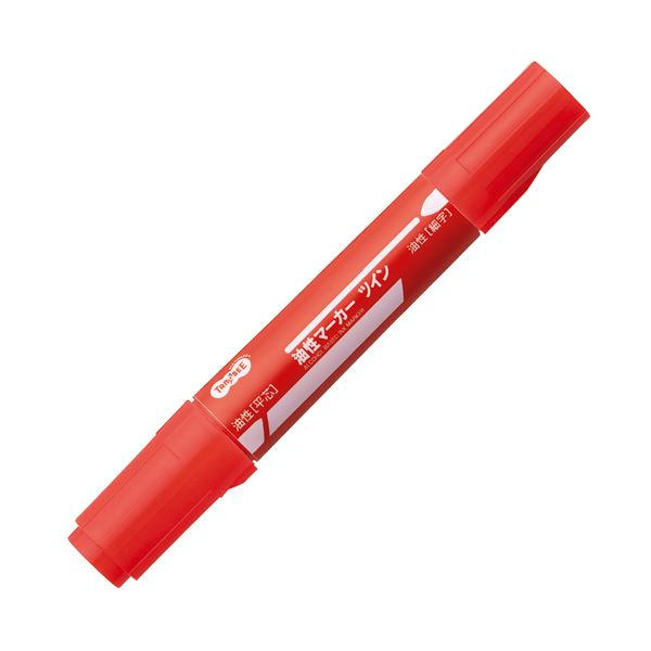 【送料無料】(まとめ) TANOSEE キャップ式油性マーカー ツイン 太字+細字 赤 1セット(50本) 【×4セット】