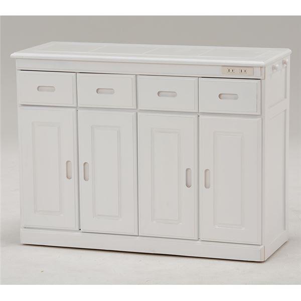 【送料無料】キッチンカウンター(キッチン収納/キッチンボード) 幅92cm 木製 二口コンセント/キャスター付き ホワイト(白) 【代引不可】