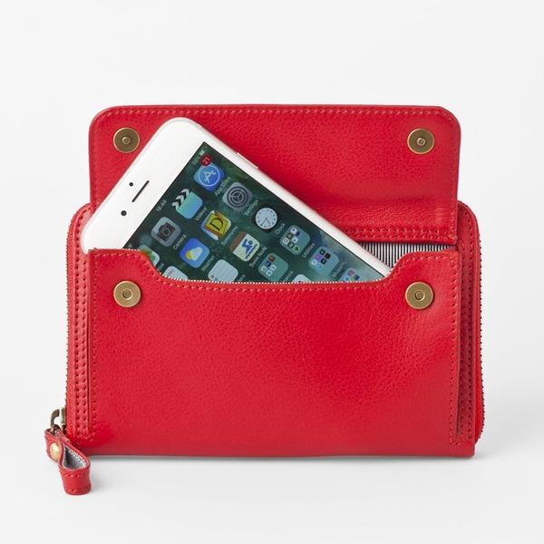 【送料無料】[スモールタイプ・タンジェリンレッド] スマホ入れ、お財布になるスマホウォレット iPhone5/6など小さいスマホ向け / スイス発カーフレザー多機能お財布