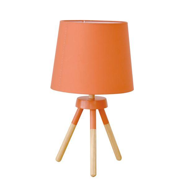 【送料無料】テーブルライト(卓上照明器具) 北欧 ファブリック×天然木 ELUX(エルックス) POOKY オレンジ 【電球別売】【代引不可】