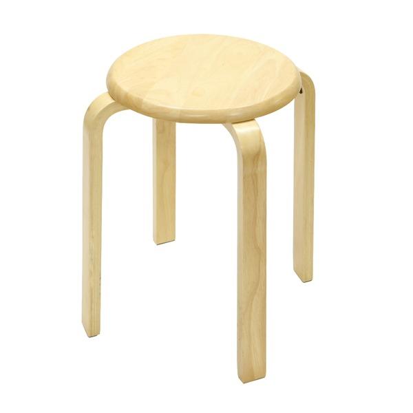 【送料無料】スタッキングチェア/チェスト 【6脚セット】木製 丸型(円形) ナチュラル