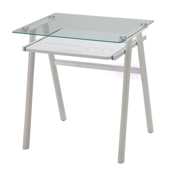 【送料無料】あずま工芸 ガラスデスク 幅70cm ガラス天板 ホワイト EDG-1971