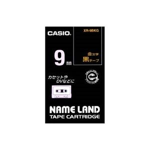 (業務用50セット) CASIO カシオ ネームランド用ラベルテープ 【幅:9mm】 XR-9BKG 黒に金文字