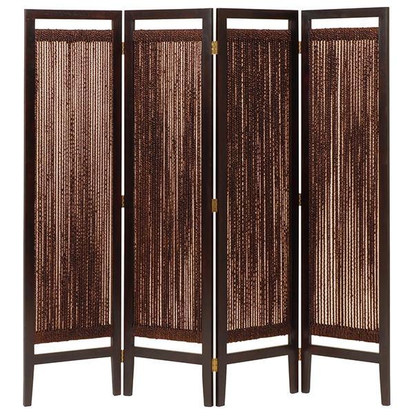 【送料無料】パーテーション(スクリーン) グランツシリーズ 4連 木製 高さ150cm アジアン風 ブラウン【代引不可】