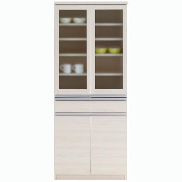 【送料無料】フナモコ 食器棚 【幅73.2×高さ180cm】 ホワイトウッド EKS-73G【代引不可】