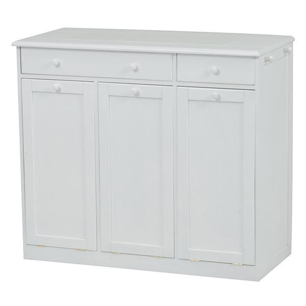【送料無料】ダストボックス/ゴミ箱 【3分別/幅91cm】 ホワイト(白) 木製 キャスター付き【代引不可】