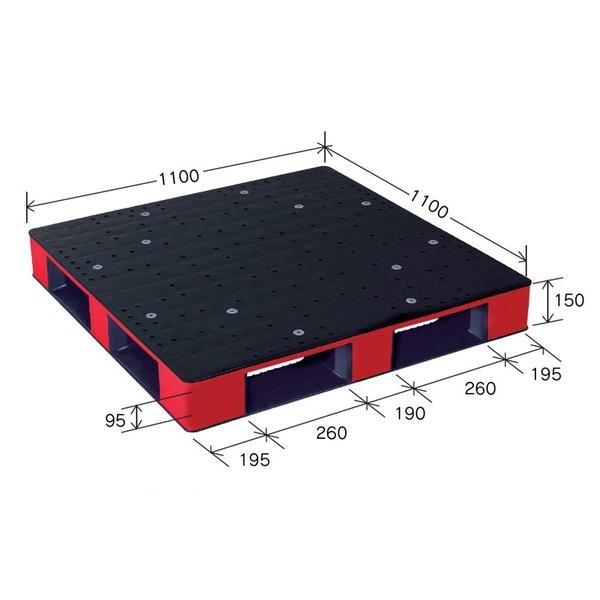 【送料無料】カラープラスチックパレット/物流資材 【1100×1100mm ブラック/レッド】 片面使用 HB-D4・1111SC 岐阜プラスチック工業【代引不可】