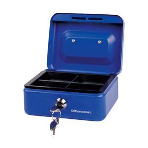 オフィスデポオリジナル 手提金庫 ブルー Sサイズ 1個