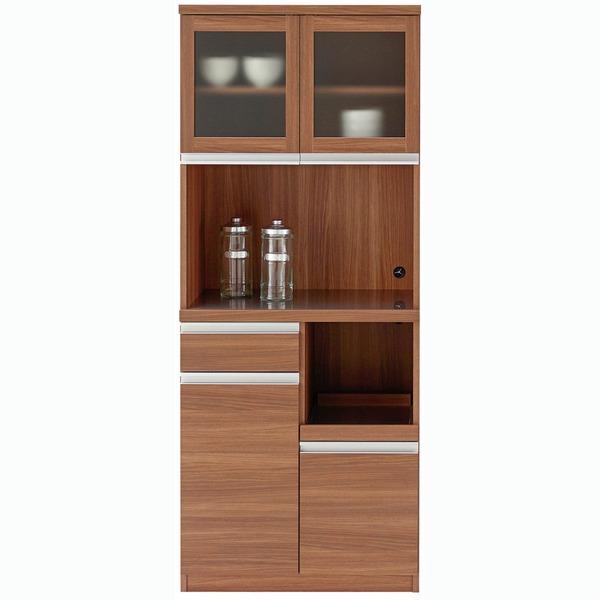 【送料無料】フナモコ 食器棚 【幅73.2×高さ180cm】 リアルウォールナット DKD-73G【代引不可】