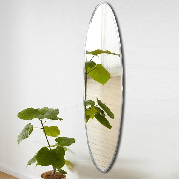 ノンフレーム ウォールミラー/壁掛け鏡 【幅40cm×奥行3cm×高さ145cm】 飛散防止加工【代引不可】