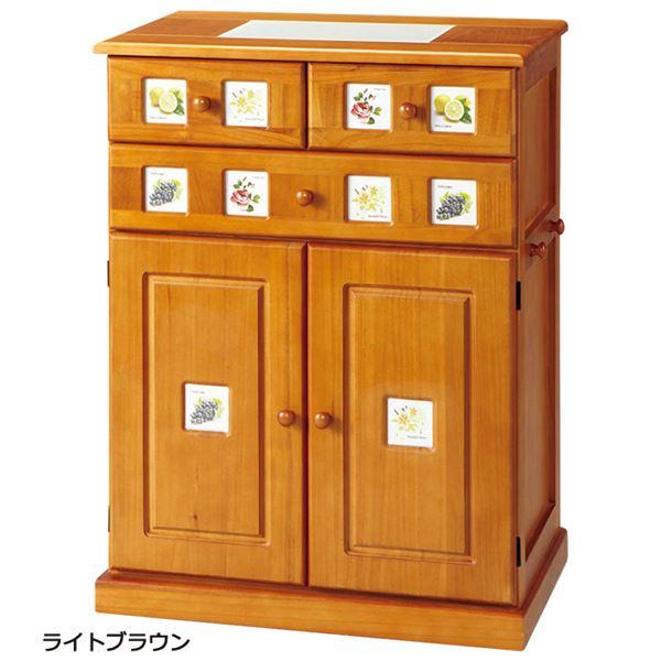 【送料無料】南欧風キッチンカウンター 【幅60cm】 木製(天然木) 引き出し/可動棚/フック/隠しキャスター付き タイル張り天板 ライトブラウン