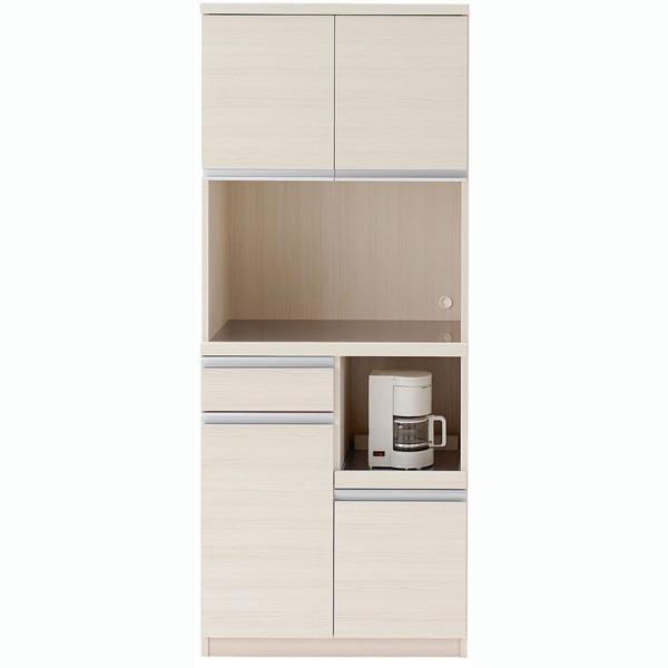 【送料無料】フナモコ 食器棚 【幅73.2×高さ180cm】 ホワイトウッド DKS-73T【代引不可】