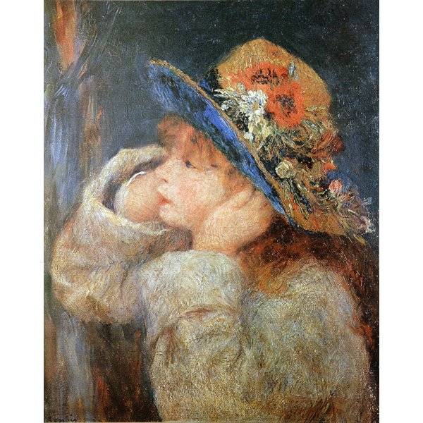 【送料無料】世界の名画シリーズ、プリハード複製画 ピエール・オーギュスト・ルノアール作 「野の花の帽子をかぶった少女」【代引不可】