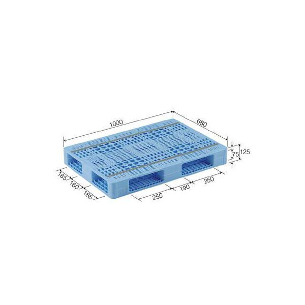 三甲(サンコー) プラスチックパレット/プラパレ 【両面使用型】 段積み可 R4-068100 ライトブルー(青)【代引不可】