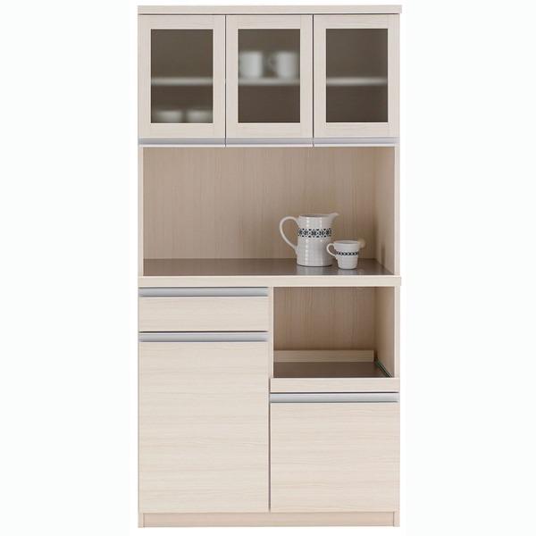 【送料無料】フナモコ 食器棚 【幅90.2×高さ180cm】 ホワイトウッド DKS-90G【代引不可】
