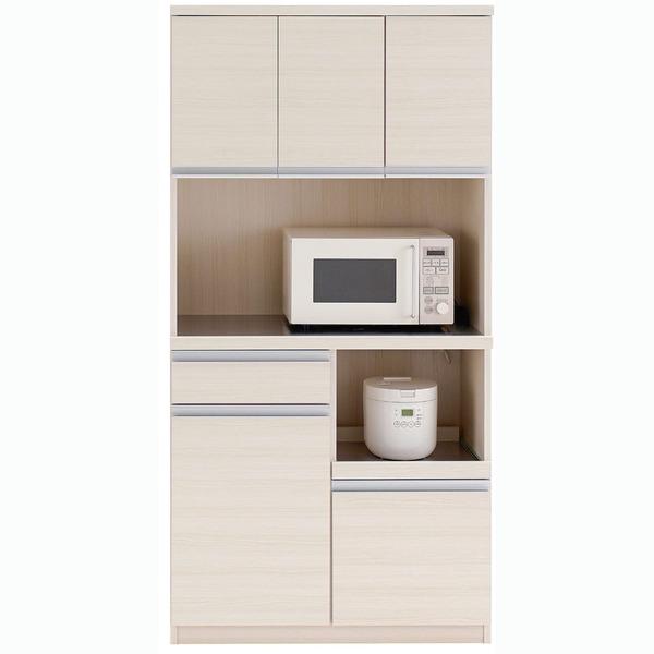 【送料無料】フナモコ 食器棚 【幅90.2×高さ180cm】 ホワイトウッド DKS-90T【代引不可】