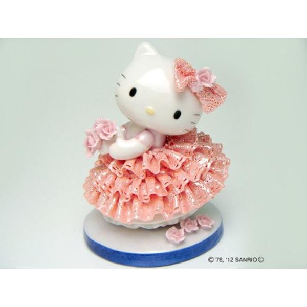 【送料無料】HeLLo Kitty ハローキティ レースドール/陶製人形 【ピンク】 磁器 高さ14×ベース径11cm 日本製【代引不可】