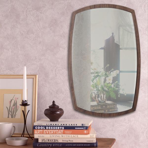 【送料無料】デザイン ウォールミラー/壁掛け鏡 【No.2 ブラウン】 飛散防止加工 『アルク』【代引不可】
