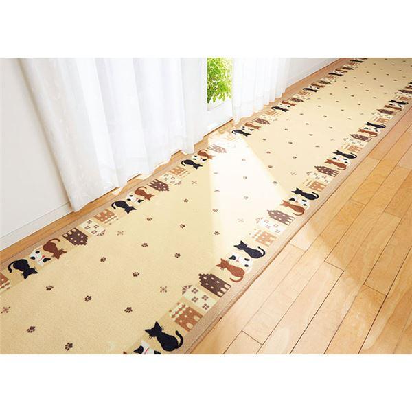 【送料無料】猫柄廊下敷き/ラグマット 【ベージュ/約66×540cm】 ナイロン100% 裏面滑りにくい加工 日本製