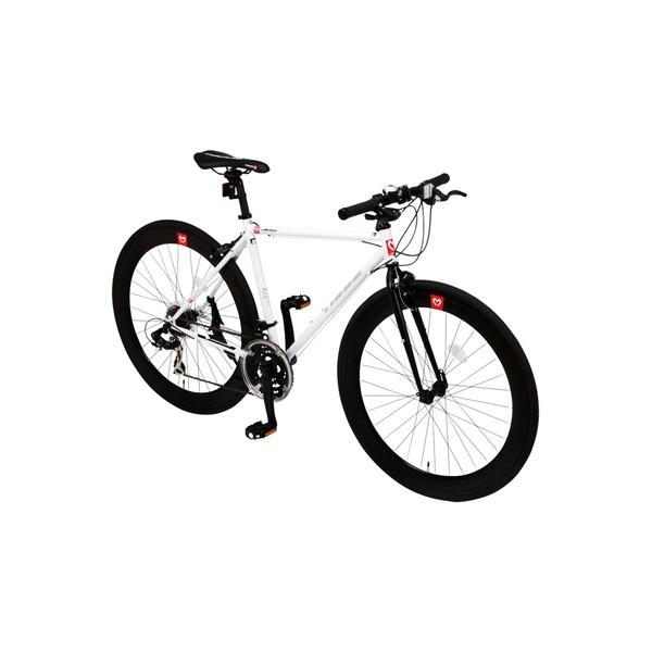 クロスバイク (約28インチ) 【代引不可】 【送料無料】 700c ホワイト シマノ21段変速 / CAC-024 重さ11.2kg 【HEBE】 軽量 ヘーべー (白)
