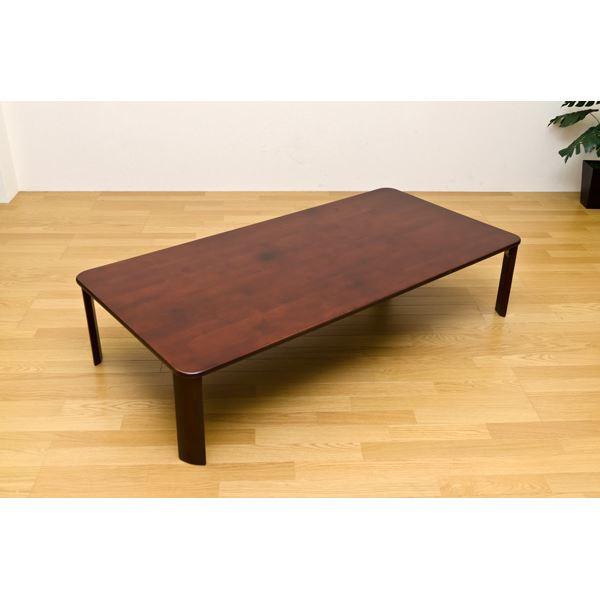 【送料無料】NEWウッディーテーブル/折りたたみローテーブル 【長方形 150cm×75cm】 ブラウン 木製 【完成品】【代引不可】