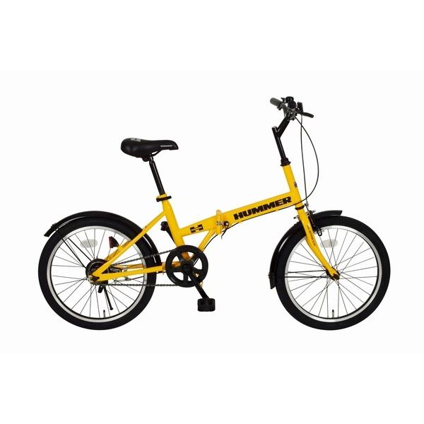【送料無料】ハマー製 折りたたみ自転車 【シングルギア イエロー】 20インチ スチール 『HUMMER』 〔通勤 通学〕【代引不可】, 上関町 15142083