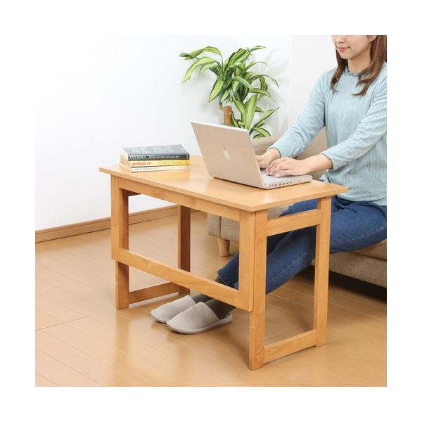 【送料無料】木製 折りたたみテーブル/補助机 【高さ55cm ナチュラル】 幅80cm 木目調 【完成品】【代引不可】