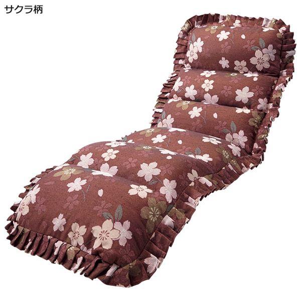 【送料無料】収納簡単低反発もこもこ座椅子 スリムタイプ サクラ柄