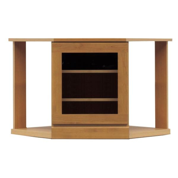 【送料無料】4段コーナー家具/リビングボード 【幅75cm】 木製(天然木) 扉収納付き 日本製 ブラウン 【完成品】【代引不可】