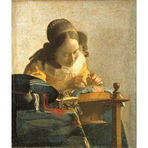 【送料無料】世界の名画シリーズ、プリハード複製画 ヨハネス・フェルメール作 「レースを編む女」【代引不可】