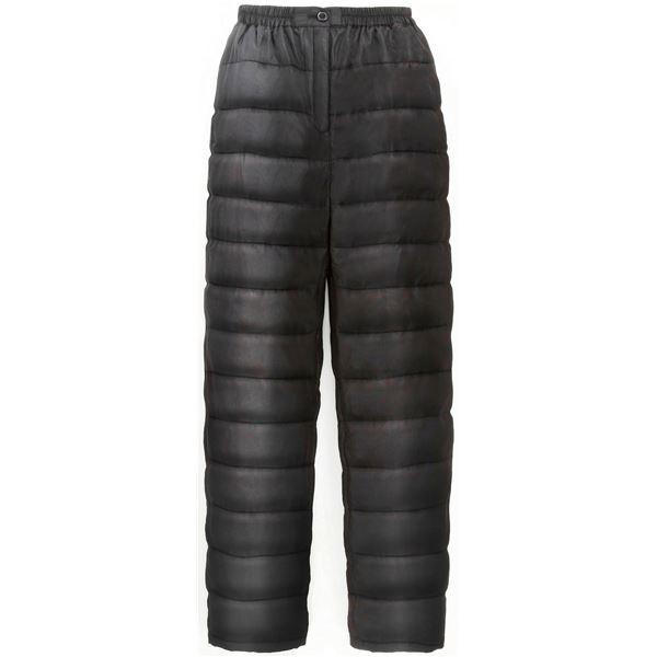 【送料無料】ふわふわダウン あったかパンツ 【ブラック S-M】 男女兼用タイプ 両脇ポケット付き 洗える 〔防寒着 冬支度 寒さ対策〕【代引不可】