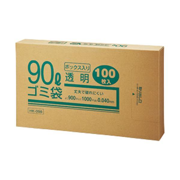 (まとめ) クラフトマン 業務用透明 メタロセン配合厚手ゴミ袋 90L BOXタイプ HK-098 1箱(100枚) 【×5セット】