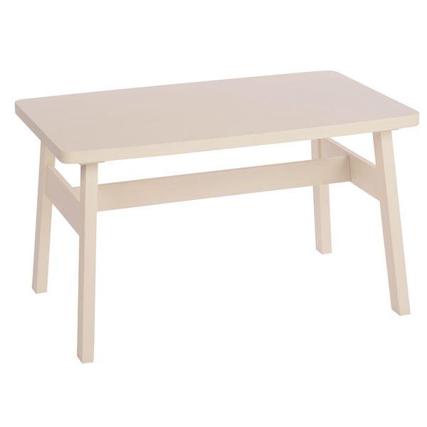 【送料無料】ダイニングテーブル/リビングテーブル 【長方形 幅120cm】 ホワイト  木製 ブラッシング加工【代引不可】