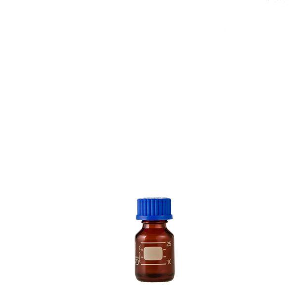 【送料無料】【柴田科学】ねじ口びん(メジュームびん) 茶褐色 青キャップ付 25mL【10個】 017210-25A