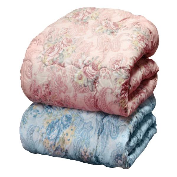 【送料無料】羊毛キルト加工掛け布団 【ダブルサイズ】 ニュージーランド産 花柄 日本製 ブルー(青)【代引不可】